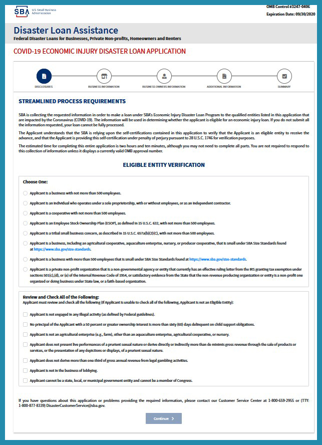 Application from the US Small Business Association