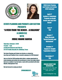 Estate Planning & Probate Law Lunch CLE with newly elected Probate Judge JoAnne Garcia