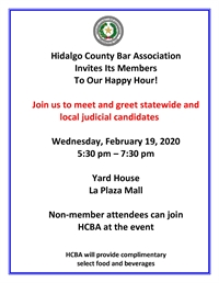 Join Us! HCBA HAPPY HOUR  to meet statewide and local judicial candidates! Feb. 19th 5:30 pm