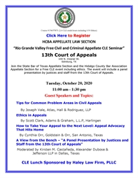 FREE 2.5 CLE credit hours -10-20-2020 HCBA State Bar Appellate Section CLE at 13th Court of Appeals