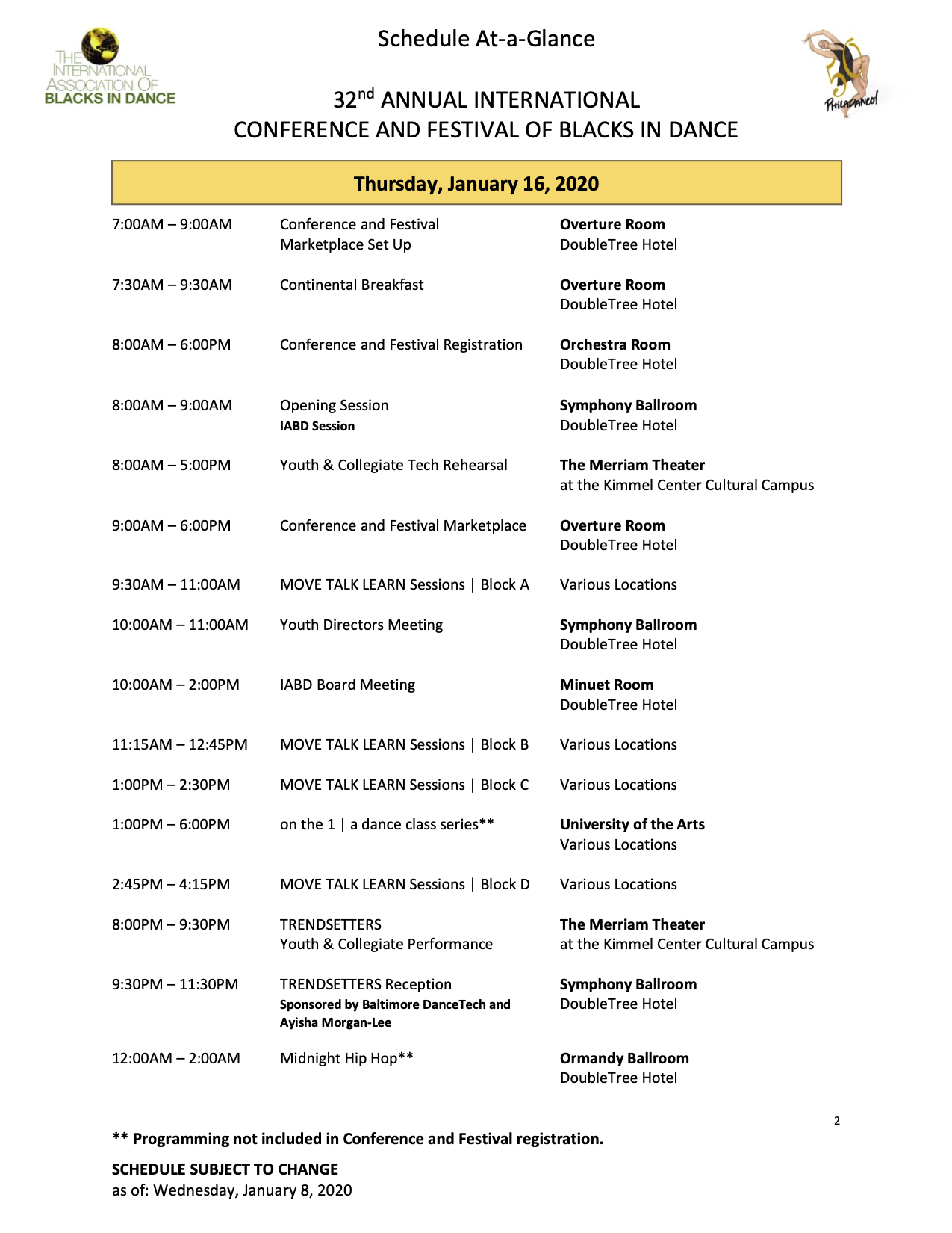 Thursday Schedule at a glance