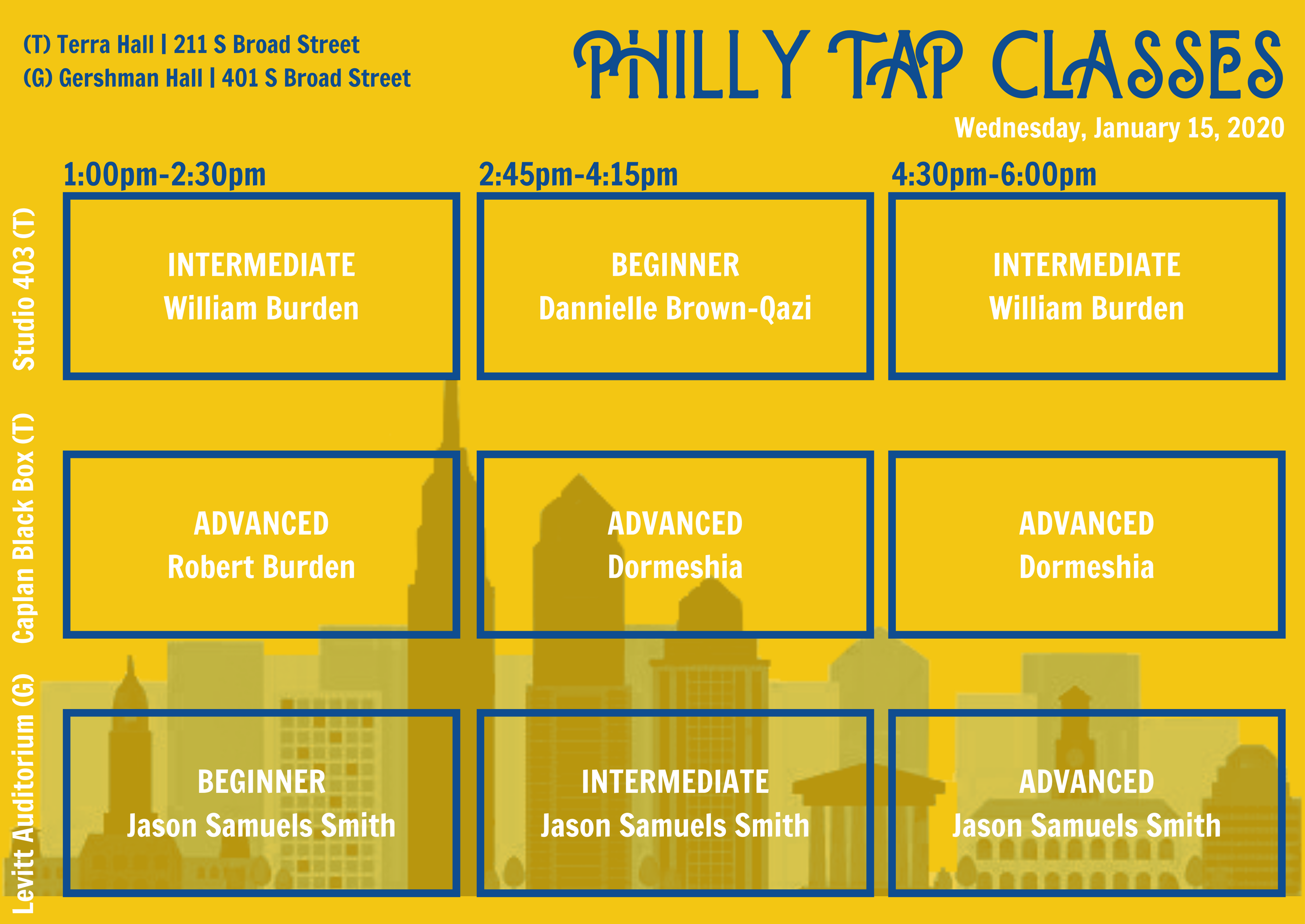 Tap Philly Style Class Schedule