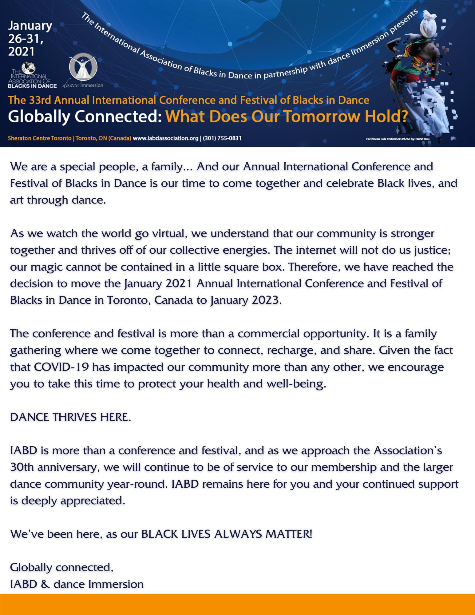 2021 Conference & Festival Postponement