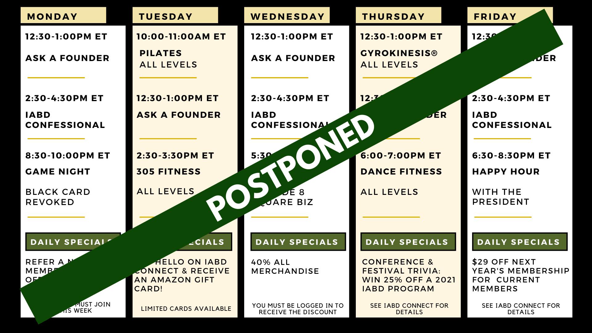 Member Week Schedule