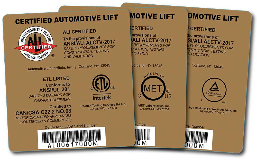 Photo 1. A lift that has been third-party tested and certified to meet all the requirements of ANSI/ALI ALCTV bears the ALI Gold Label.
