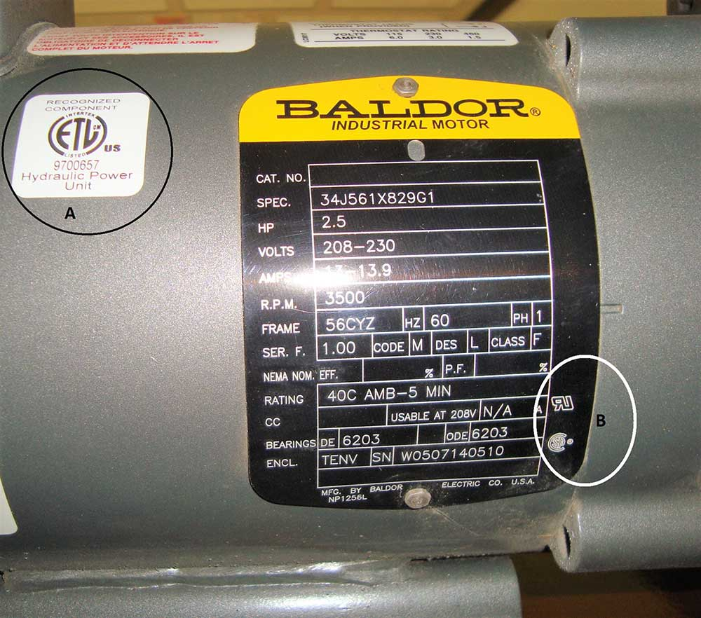 Photo 3. This power unit has the ETL recognition mark for the entire power unit (A), as well as individual UR and CSA recognition marks for the electric motor only (B). Note, these listing marks do not provide approval of the entire automotive lift.