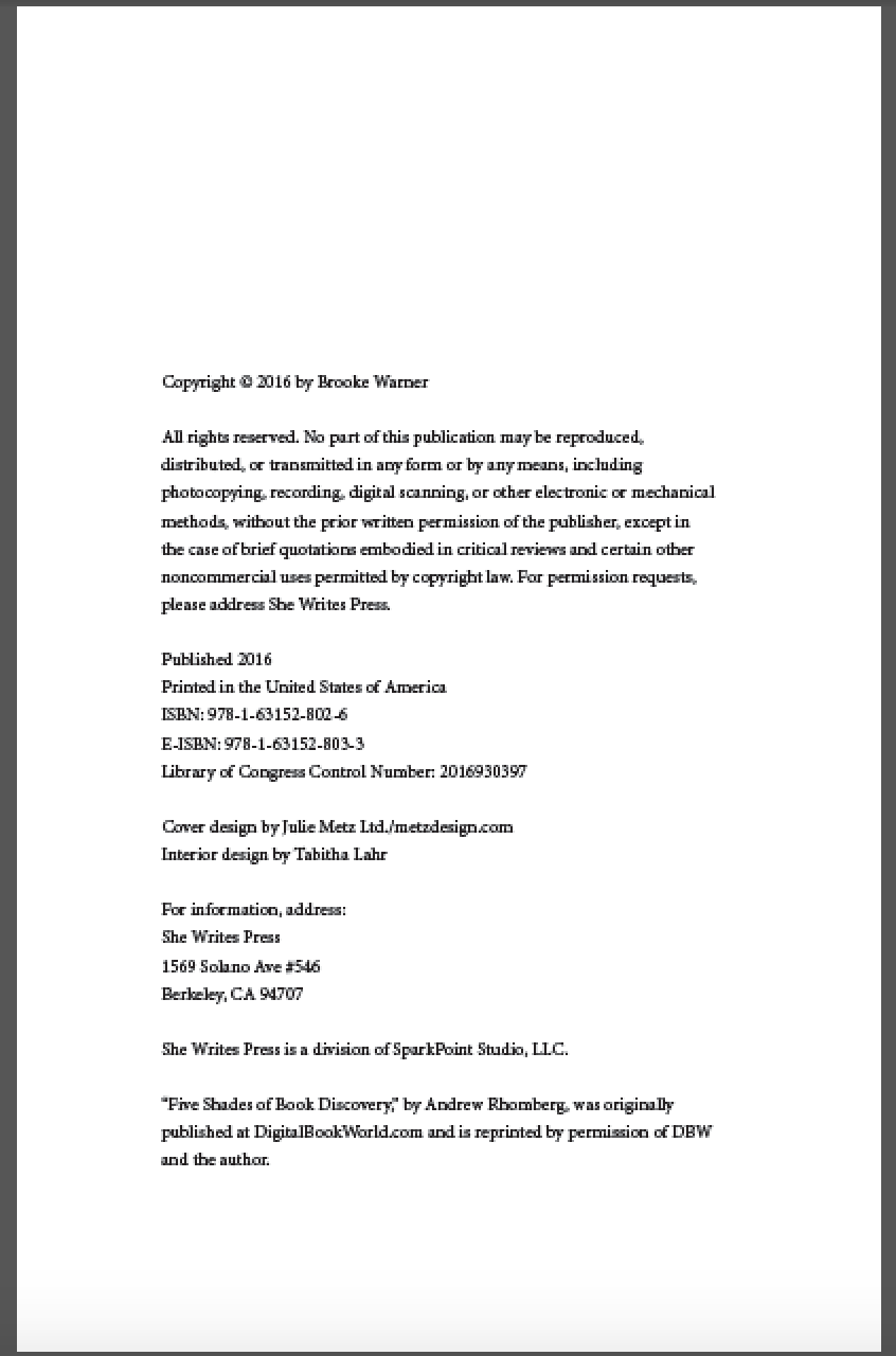 Industry standards checklist independent book publishers for Copyright template for book