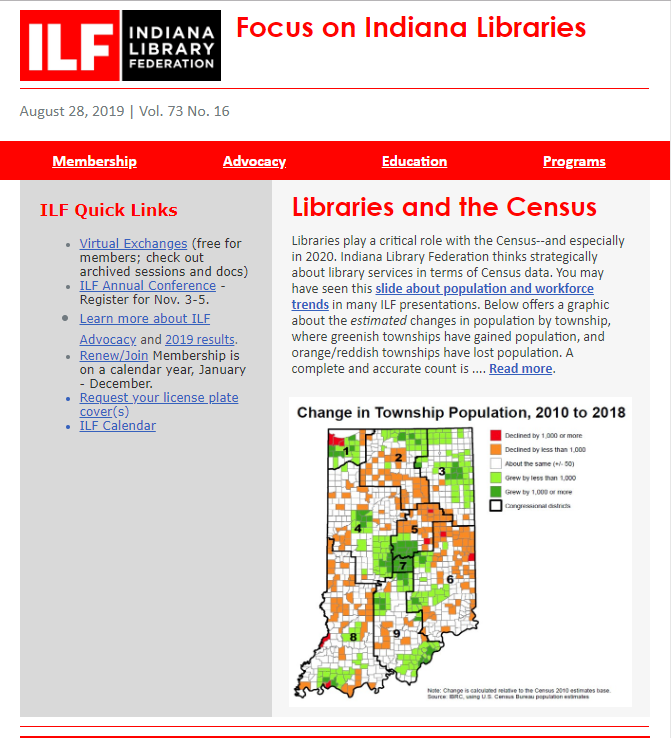 Image of Focus on Indiana Libraries newsletter