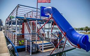 blue slide on barge
