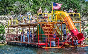 colorful slide on barge