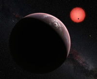 Artist's conception of 3 planets of TRAPPIST-1 system