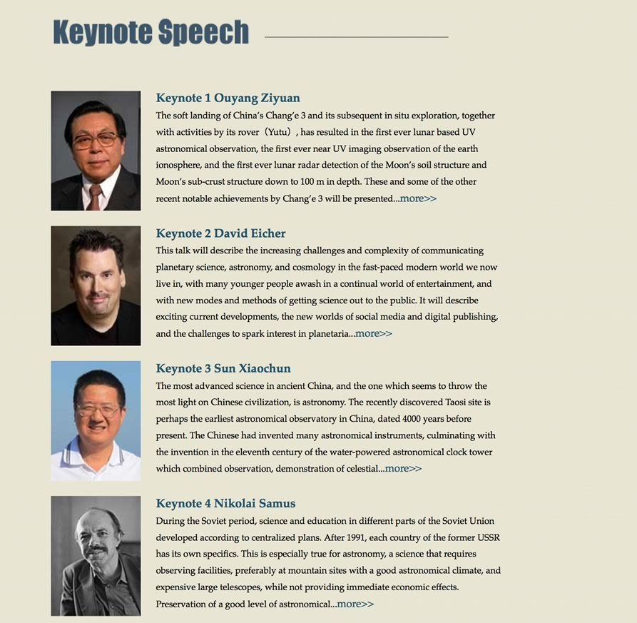 screenshot of keynote speakers