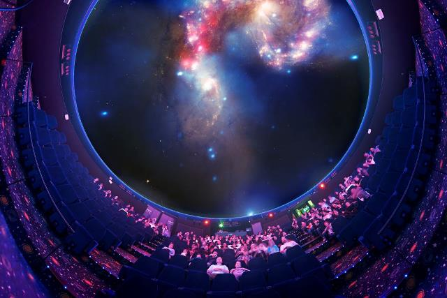 Inside the large planetarium dome