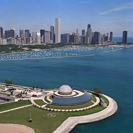 The Adler Planetarium and Chicago Skyline