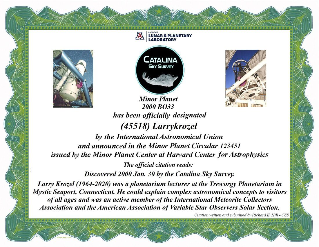 Image: Minor Planet Larrykrozel certificate issued by Harvard Center for Astrophysics