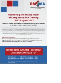 Monitoring & Management of Compliance Training: 15-17 August JHB