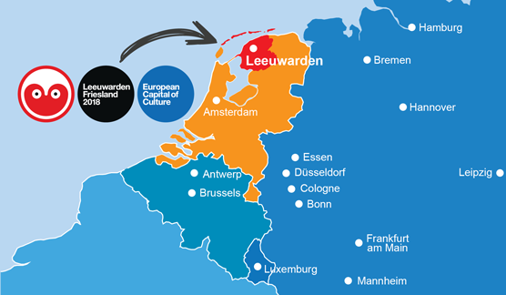 Map of Photo of Leeuwarden-Friesland and adjacent counties