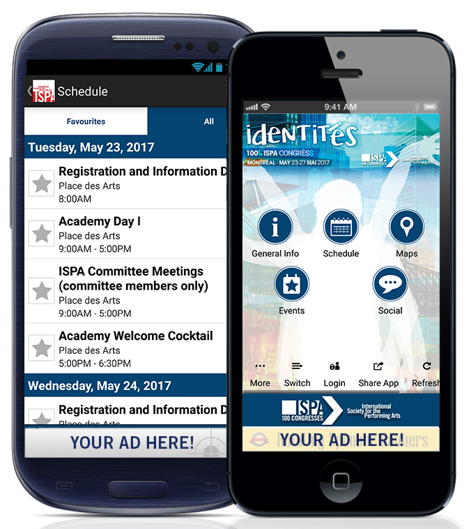 Example of mobile app banner ad placement