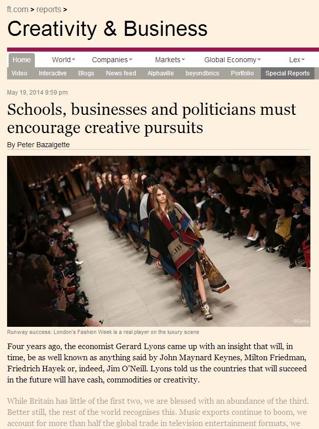 The Financial Times - Schools, businesses and politicians must encourage creative pursuits