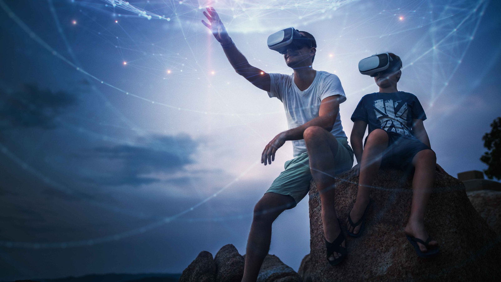 Stock image: People using a Virtual Reality device