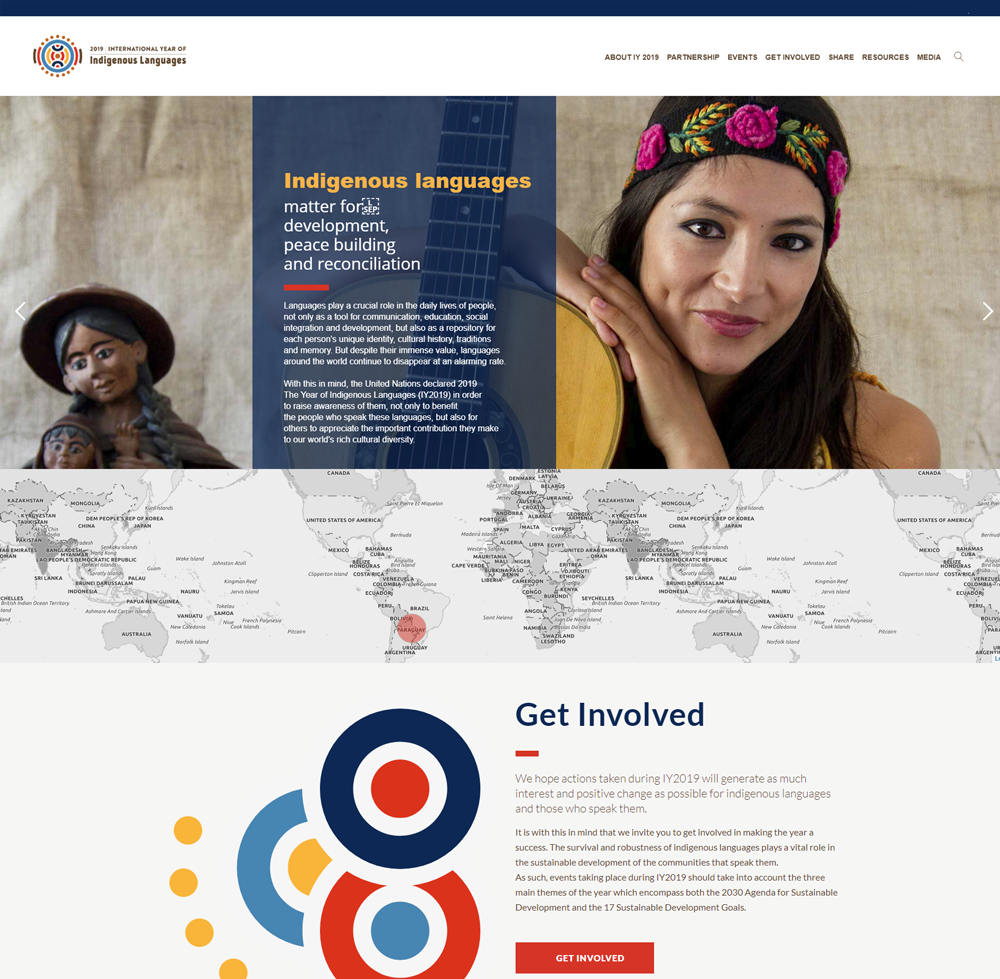 Website Screenshot - International Year of Indigenous languages (IY2019)