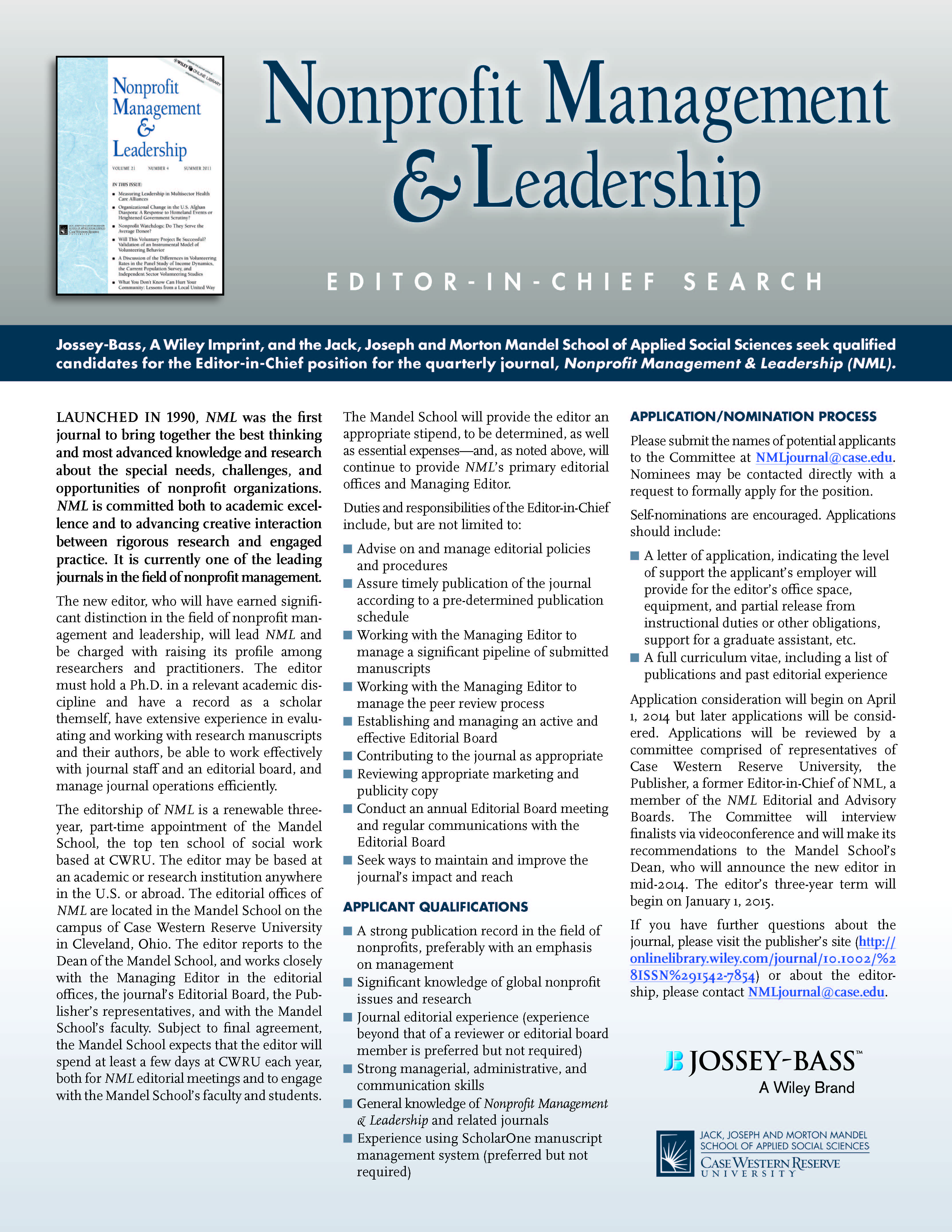 Nonprofit Management & Leadership - Call for Editor - www