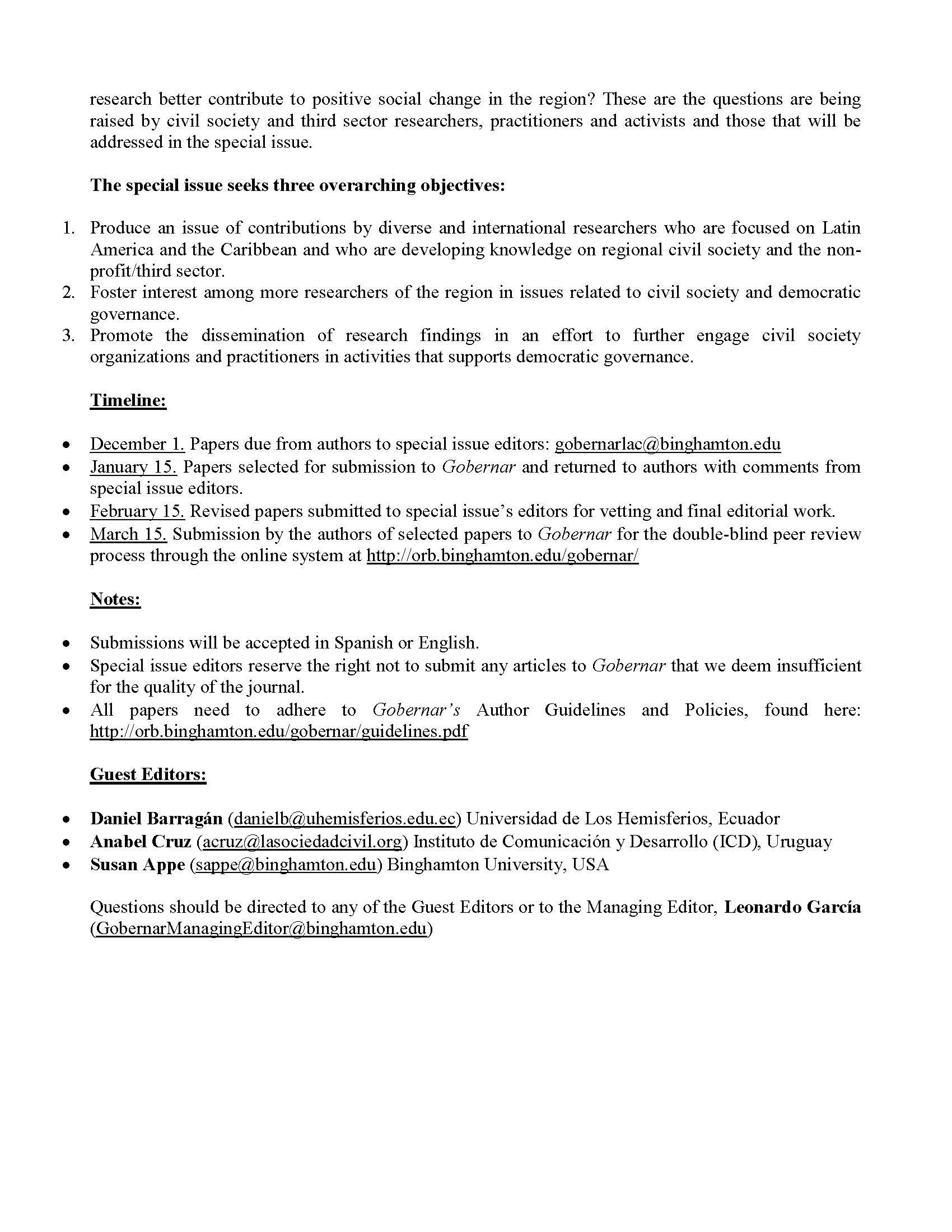 Deadline Extension December 15 Gobernar The Journal of Latin