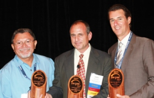 (l-r) Romel Bezerra, Elof Hansson USA, winner of Aesthetic and Environmental Excellence; Chris Paras, IWPA 2010/2011 President, Argo Fine Imports; Warren Spitz, UCS Forest Group, winner of Innovative Excellence