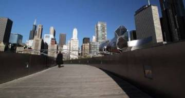 The expansive BP Bridge, designed by world-famous architect Frank Gehry, links Chicago's Millennium Park to the Lake Michigan shoreline. Imported ipé hardwood was chosen for its durability and the silver-gray color it takes on as it ages. Gehry also designed the Jay Pritzker Pavilion using jarrah, not only for its durability but for its warm color.