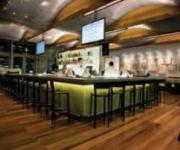 The American Sector Restaurant at the World War II Museum in New Orleans features cumaru wood throughout.