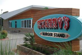 P. Terry's Burger Joint in Austin, Texas features garapa wood. Photo courtesy of East Teak/Photographer Matt Mladenka.