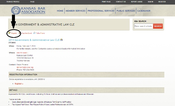 How to register online for a CLE