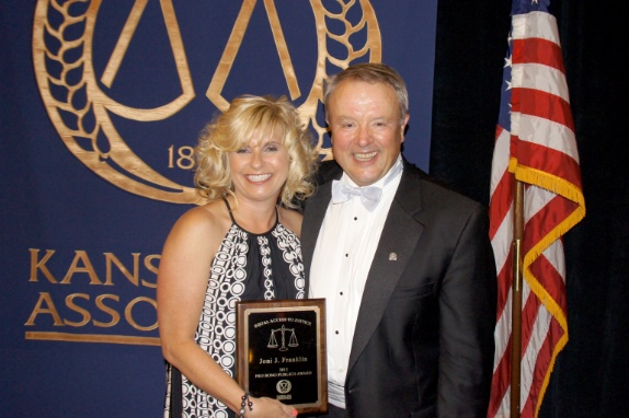 Pro Bono award recipient Joni Franklin and KBA Pres Lee Smithyman