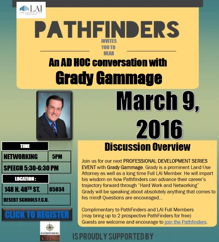 PathFinders: Grady Gammage @ Desert Schools Federal Credit Union | Phoenix | Arizona | United States