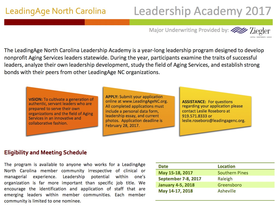 leadership academy leadingage north carolina