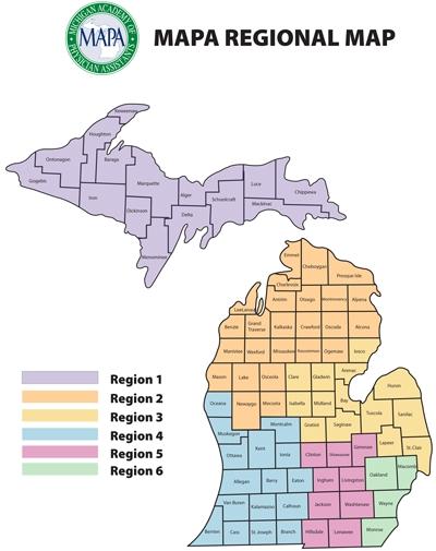 MAPA Region Map - Michigan Academy of Physician Assistants