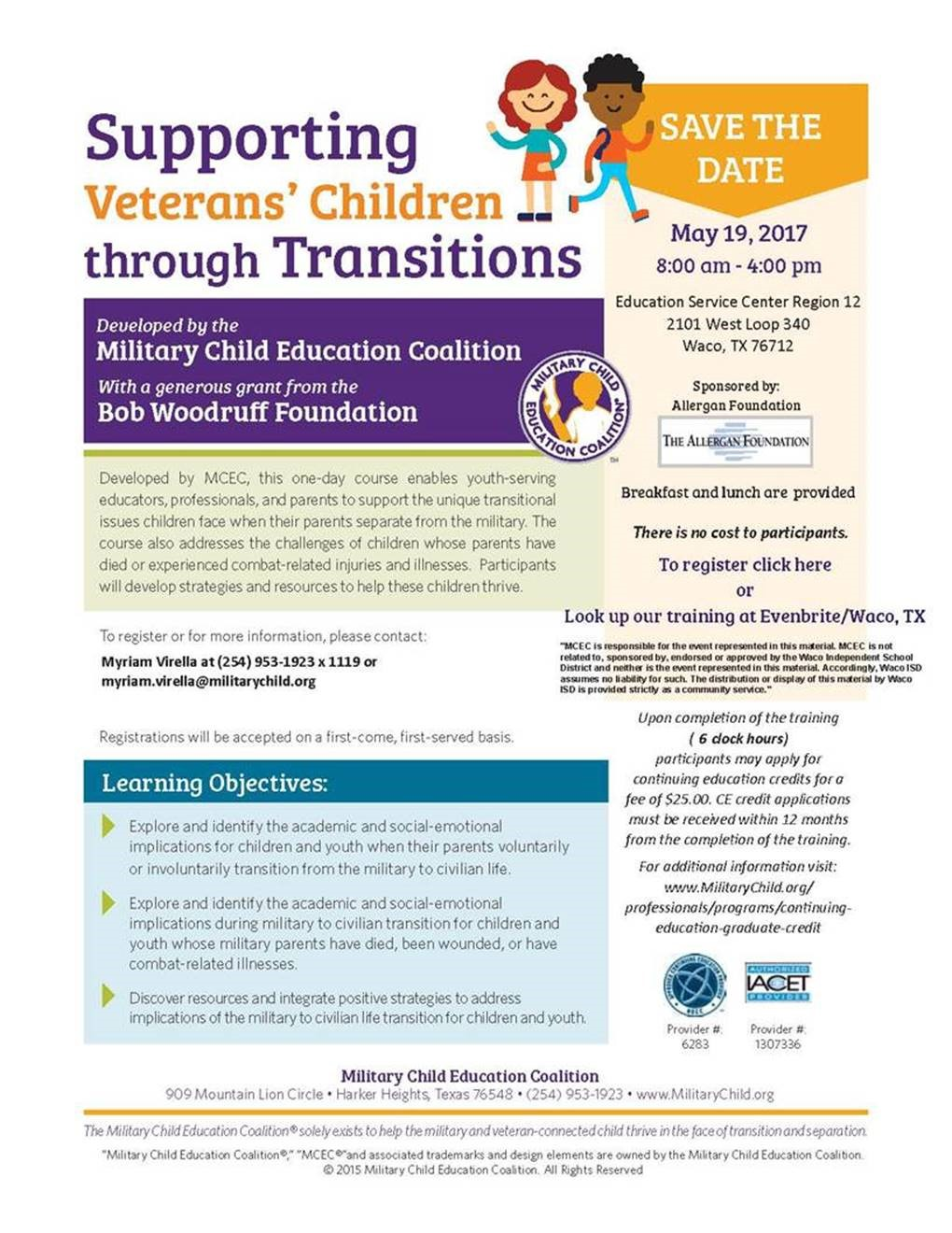Supporting Veterans' Children through Transitions Course