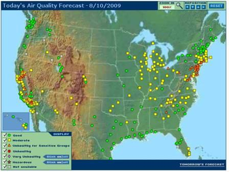 nationwide and regional real time ozone air quality maps updated every hour covering 46 u s states and parts of canada