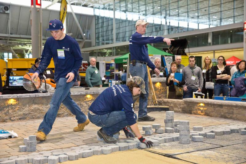 UNH Students build a raised patio on the tradeshow floor at New England GROWS. The next GROWS event is scheduled for December 2 - 4, 2015 in Boston.