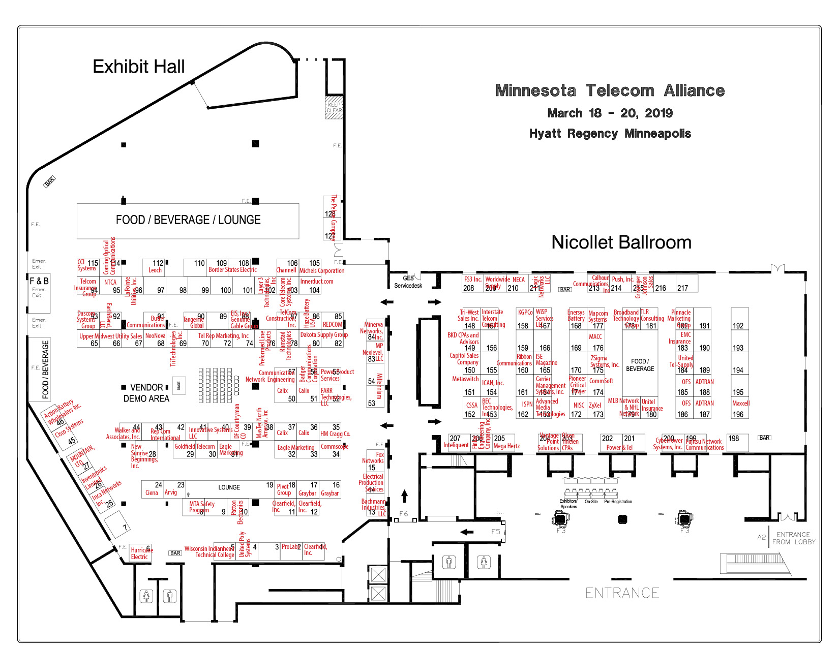 MTA 2019 Convention Exhibitor Floorplan
