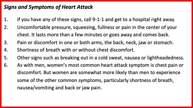 Text Box: Signs and Symptoms of Heart Attack  1.If you have any of these signs, call 9-1-1 and get to a hospital right away.  2.Uncomfortable pressure, squeezing, fullness or pain in the center of your chest. It lasts more than a few minutes or goes away and comes back.  3.Pain or discomfort in one or both arms, the back, neck, jaw or stomach.  4.Shortness of breath with or without chest discomfort.  5.Other signs such as breaking out in a cold sweat, nausea or lightheadedness.  6.As with men, women's most common heart attack symptom is chest pain or discomfort. But women are somewhat more likely than men to experience some of the other common symptoms, particularly shortness of breath, nausea/vomiting and back or jaw pain.