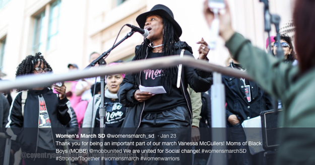 Vanessa McCullers gives speech on behalf of MOBB United at San Diego Women's March January 20, 2018