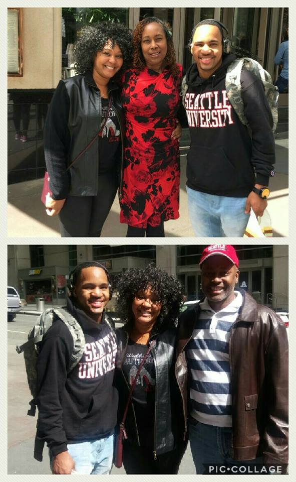 Mom Teri Silar (top left, bottom middle), son Jahmansa (top right), and Auntie Harnette (top middle)