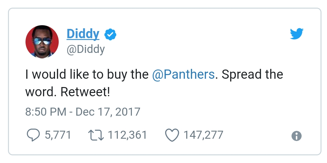 Tweet by P. Diddy