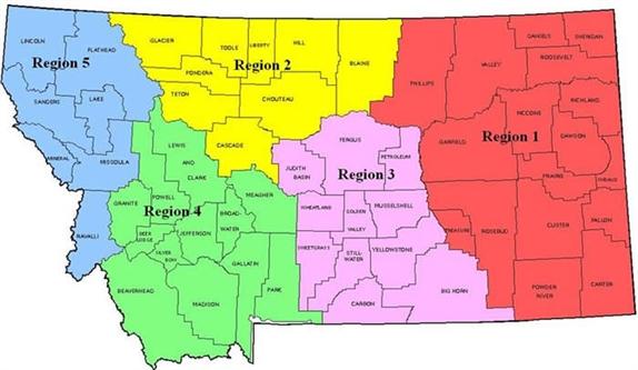 Regional Map And Regional Vice Presidents  Montana Public