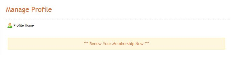 Manage Profile - Renew Your Membership Now