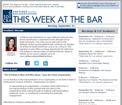 San Diego County Bar Association This Week at the Bar