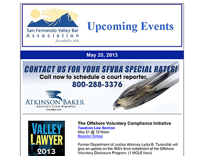 San Fernando Valley Bar Association Newsletter Screen Capture