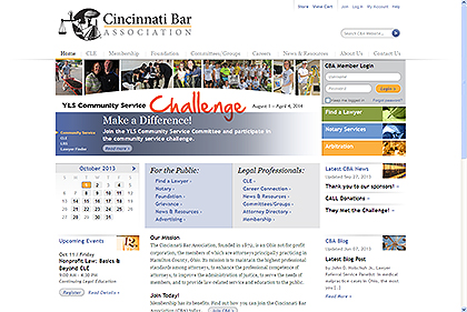 Cincinatti Bar Association Website Screen Capture
