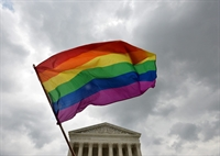 Rainbow flag in front of court